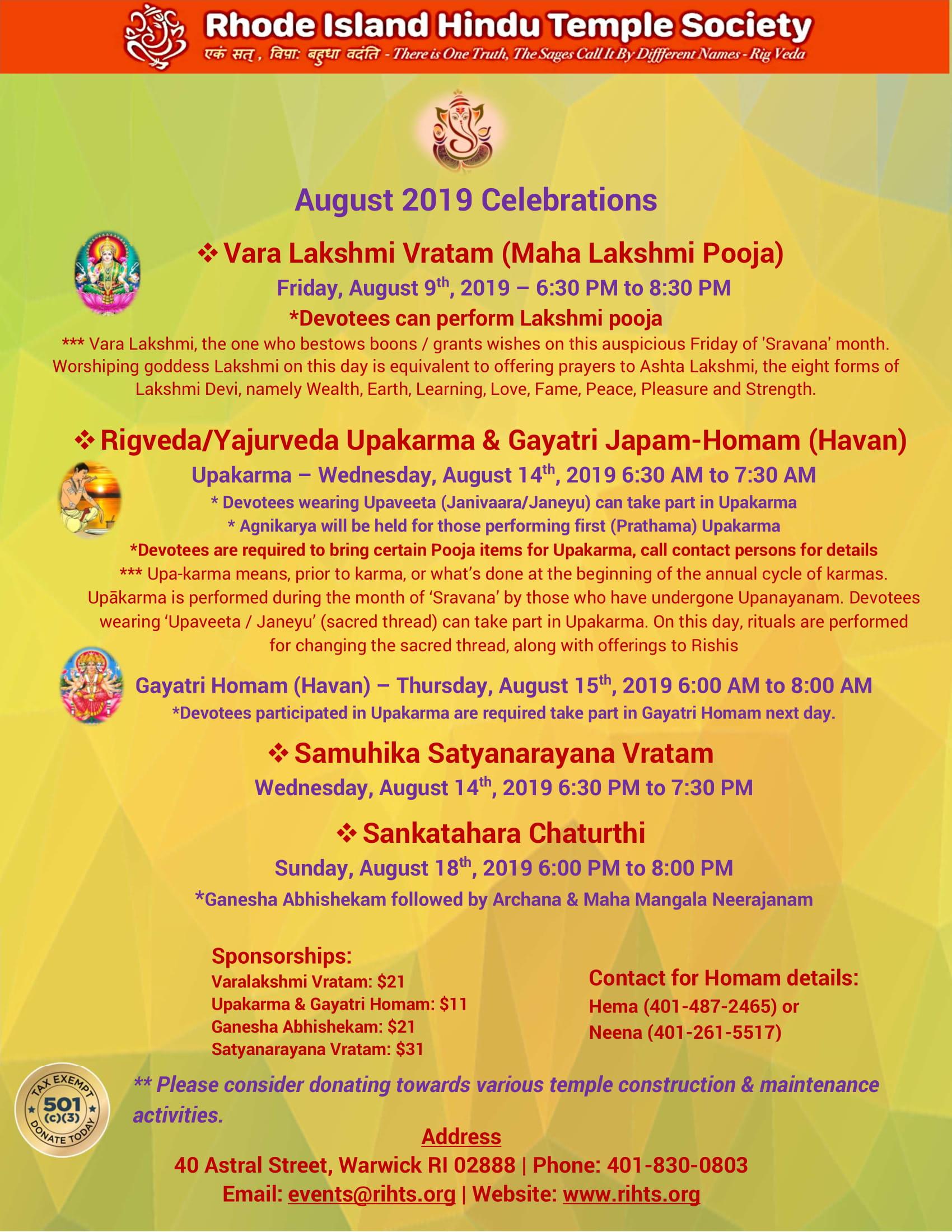 Temple Events – Rhode Island Hindu Temple Society